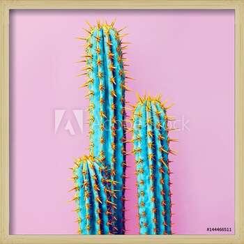 Set Neon Cactus. Minimal creative stillife Poster înrămat