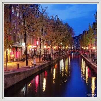 Red Light District in Amsterdam Poster înrămat