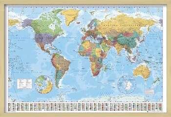 Poster înrămat World Map - Political