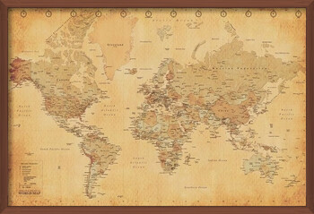 Poster înrămat World Map - Antique Style