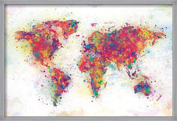 Poster înrămat World Map - Colour Splash