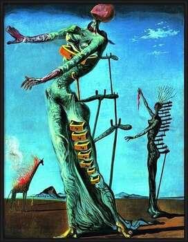 Poster înrămat Salvador Dali - Girafe En Feu