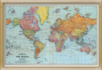Poster înrămat Stanfords General Map Of The World - Colour
