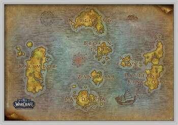 Poster înrămat World Of Warcraft - Map