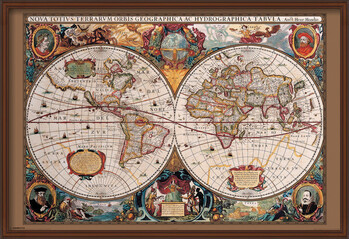 Poster înrămat World Map - 17th Century