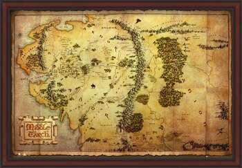 Poster înrămat The Hobbit - Middle Earth Map