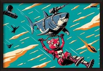 Poster înrămat Fortnite - Laser Shark